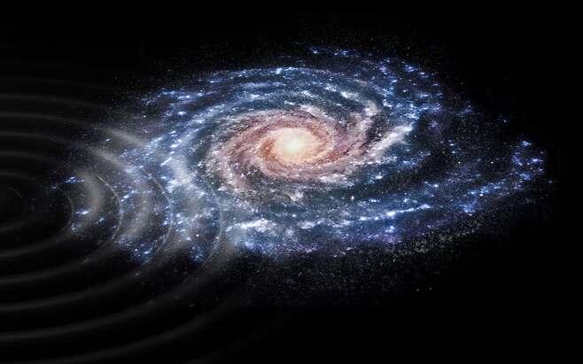 우리 은하에 남은 물결 무늬 충돌 흔적의 개념도. 출처=ESA, CC BY-SA 3.0 IGO