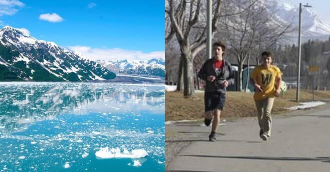 겨울 주 알래스카 빙하(왼쪽)와 주요 도시 앵커리지 시민들. [프리큐레이션, AP=연합뉴스]