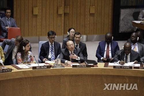 안보리에서 발언하는 장쥔 유엔주재 중국 대사 [신화=연합뉴스]