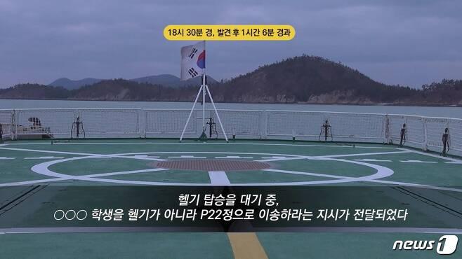 A군을 헬기 말고 P정(배)으로 옮기라는 지시를 받은 해경(특조위 제공 영상 캡처) © 뉴스1