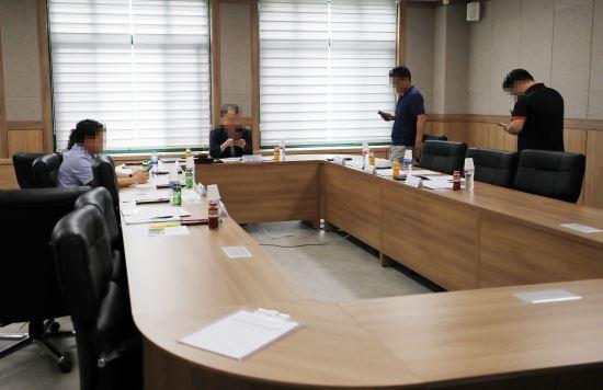 충남 공주대 산학협력단에서 지난 8월 23일 윤리위원회가 열리고 있다. 연합뉴스