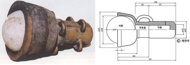 세종 때의 총통완구 복원 모습(왼쪽 사진)을 바탕으로 채연석 교수가 복원한 대완구 설계도. 채연석 교수 제공