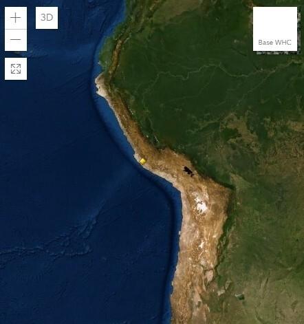 페루의 나스카평원(노란색 점).