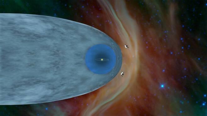 보이저 1, 2호가 헬리오포즈를 지나 성간공간으로 진출한 상상도.출처=NASA/JPL-Caltech