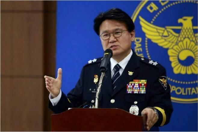 기자회견하는 황운하 대전지방경찰청장 (사진=대전경찰청 제공)