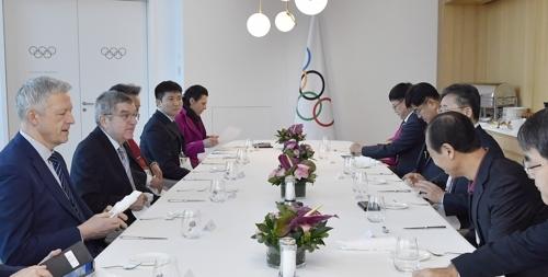 2024 강원동계청소년올림픽 유치 한국대표단과 조찬하는 바흐 위원장 [국제올림픽위원회(IOC) 제공]