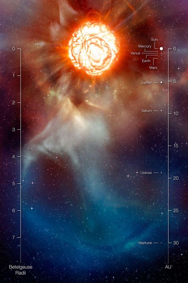 베텔게우스의 크기 개념도.출처=ESO/L.Calcada