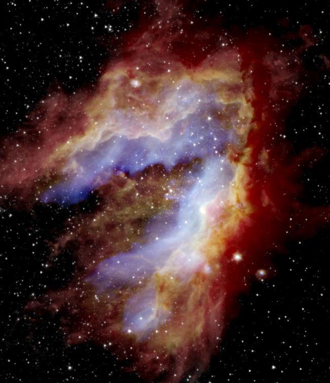 오메가 성운(M17)으로 불리기도 하는 백조성운. 궁수자리에 있는 거대한 성운으로, 지름이 15광년에 이르며, 성간물질로 이루어진 구름까지 포함하면 무려 40광년에 이르는 어마무시한 크기다. 출처= NASA / SOFIA / Lim, De Buizer & Radomski 등; ESA / Herschel; NASA / JPL-Caltech