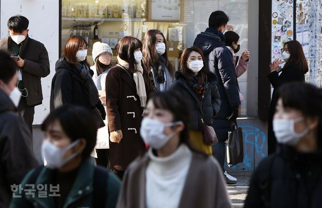 3일 오후 서울 마포구 홍대입구역 근처에서 젊은이들이 대부분 마스크를 쓴 채 거리를 지나고 있다. 홍인기 기자