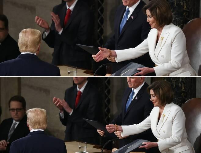 낸시 의장의 악수 요청을 못본척 하는 트럼프 대통령의 연속 사진. 낸시 의장이 멋적은 듯 손을 거두고 있다. [AFP=연합뉴스]