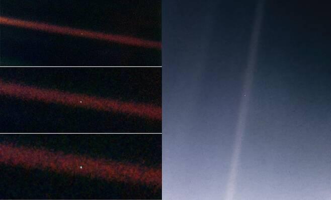 30년 전 보이저 1호가 촬영한 지구(사진 왼쪽)와 최근 리마스터된 사진. 사진 속 작은 점이 지구다.