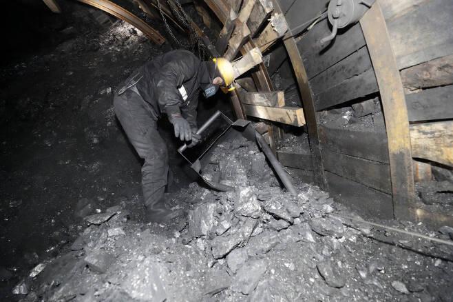 강원도 태백 대한석탄공사 장성광업소 광부들이 지난달 25일 오전 '수3 크로스' 막장에서 동발(석탄 캐기 작업을 하기에 앞서 길을 내는 일) 작업을 하고 있다.