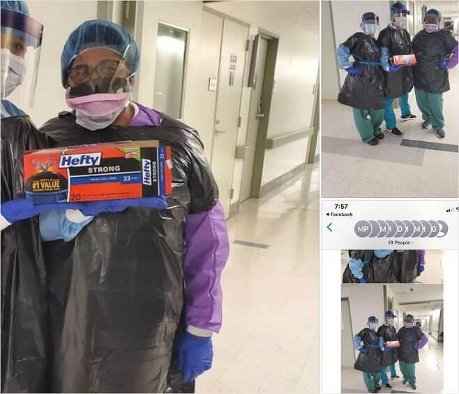 보호복 부족난에 처한 미국 의료진들이 쓰레기봉투로 보호복을 만들어 입은 모습 (출처=트위터 @brianmrosenthal)
