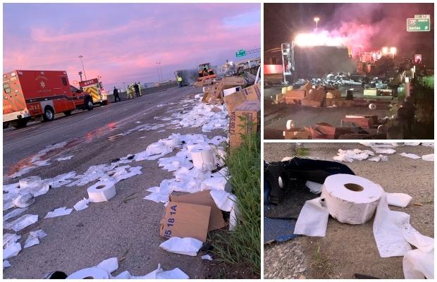 폭스뉴스는 1일 텍사스주 댈러스의 한 고속도로에서 화장지를 실은 트레일러가 도로를 굴러 불길에 휩싸였다고 설명했다.