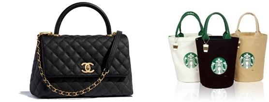 (왼쪽) 샤넬 코코핸들백은 466만원 (오른쪽) 스타벅스 로고가 새겨진 에코백은 온라인 쇼핑몰에서 보통 1만원 정도 가격에 팔리고 있다/사진=샤넬 공식 홈페이지, 온라인 쇼핑몰