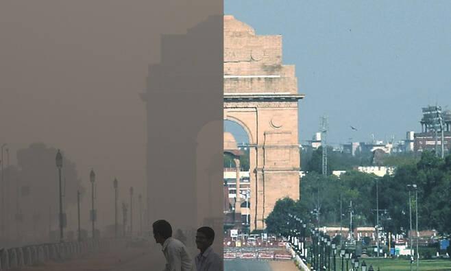 인도 뉴델리의 상징 종형물 '인디아 게이트' 앞 거리. 3월25일 전국 이동제한 조처 이전(왼족)과 이후의 모습이 확연히 다르다. 뉴델리/AP 신화 연합뉴스