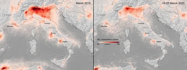 전국 이동제한 조처 이전과 이후의 이탈리아 이산화질소 농도 변화. 유럽우주국 제공