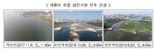 세종보 수문 완전개방 전후 전경. © 뉴스1