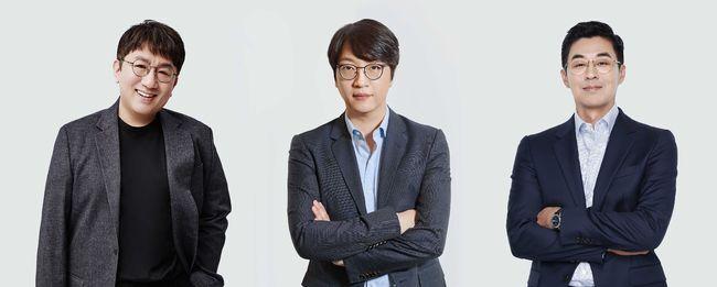 빅히트 엔터테인먼트_최고경영진 개편_방시혁 의장 윤석준 Global CEO 박지원 HQ CEO(좌측부터)