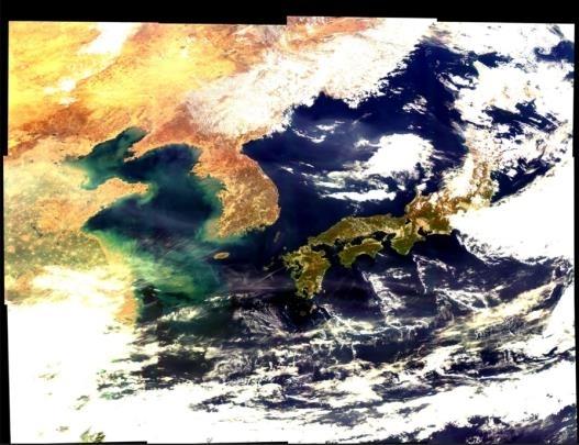천리안위성 2B호 해양관측 영상 2020년 3월 23일 13시 관측 영상. [과학기술정보통신부 제공]