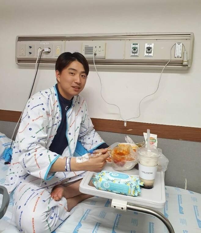 롯데, 이승헌 호전된 근황 공개 [롯데 자이언츠 구단 공식 인스타그램 캡처]