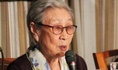 일본군 위안부 피해자인 김복동 할머니가 2015년 4월 24일 일본 외국특파원협회에서 열린 기자회견에서 발언하고 있다. 연합뉴스