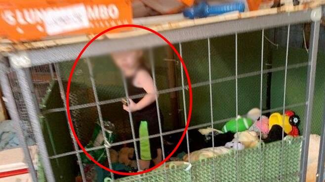 개 사육장의 철장에 갇혀 있다 구조된 미국의 생후 18개월 남자아이