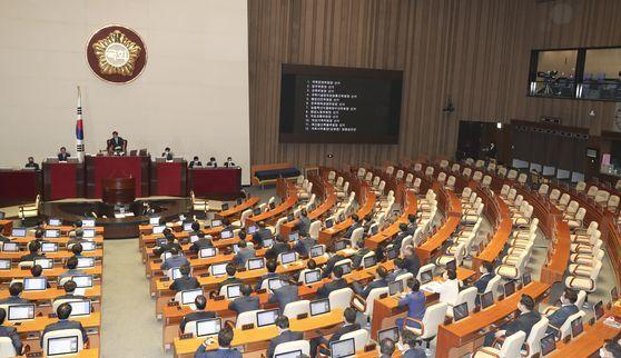 박병석 국회의장이 29일 국회 본회의에서 미래통합당이 불참한 가운데 상임위원장 선거 결과를 발표하고 있다. 임현동 기자