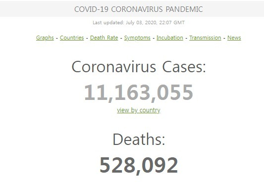 3일(현재) 코로나 19 확진자 및 사망자수 - 월드오미터 갈무리