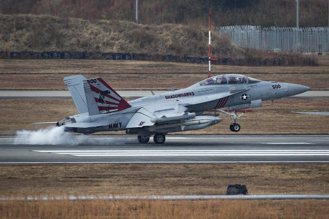미 태평양함대 제5항공모함타격단 141전자공격비행대대 소속 EA-18G 전자전기가 지난 2017년 11월 꼬리날개에 욱일 문양 도장을 한 채 일본 이와쿠니 비행장에 착륙하고 있다. 미 해병대 제공
