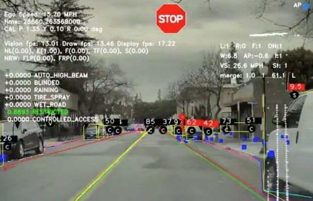 테슬라 차량이 카메라를 이용해 주변 사물과 표지판 등을 인식하는 모습. 사진=테슬라