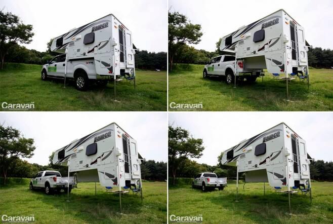 트럭캠퍼의 가장 큰 장점은 픽업트럭과 캠퍼를 쉽게 분리하고 결합할 수 있다는 점이다