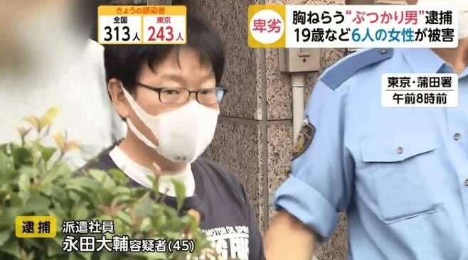 젊은 여성만 노리고 부딪쳐 폭행 혐의로 체포된 일본 남성 나가타 다이스케(45) - 일본 후지TV 갈무리