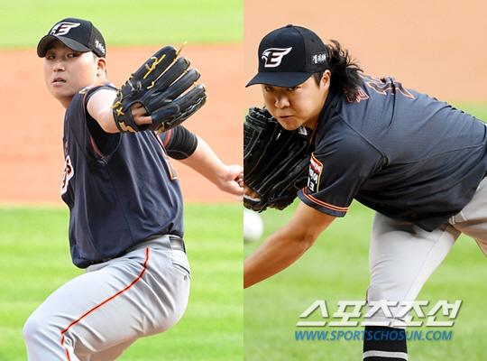 한화 김민우(왼쪽)와 김범수. 스포츠조선DB