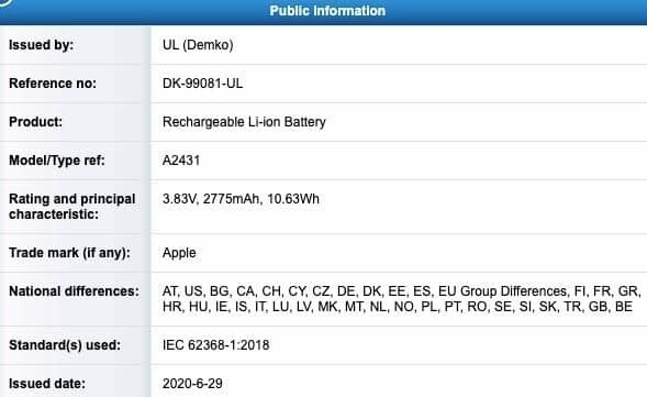 아이폰12 프로 탑재될 것으로 보이는 배터리 모델번호 A2431 (사진=UL뎀코)