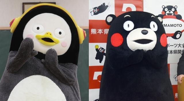 EBS 인기 크리에이터 '펭수(왼쪽)'와 일본 구마모토현 지방자치단체 캐릭터 '구마몬'. 연합뉴스/구마모토=교도 연합뉴스