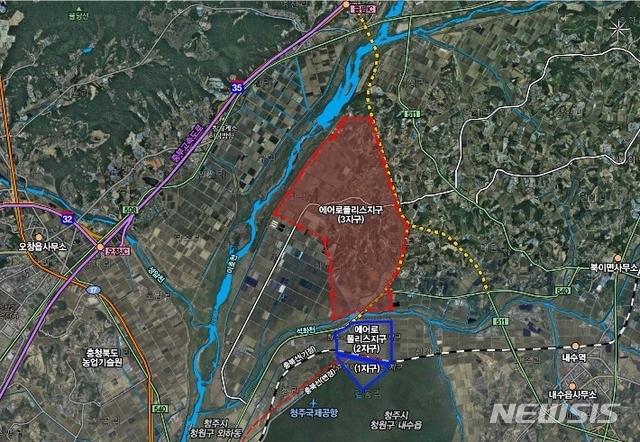 [청주=뉴시스]청주 에어로폴리스 3지구 위치도. (사진=뉴시스 DB) photo@newsis.com