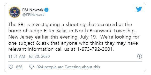 [서울=뉴시스] 미국 뉴저지주 노스 브런스윅에서 19일(현지시간) 발생한 연방판사 자택 총격사건에 대해 연방수사국이 트위터를 통해 해당 사건을 수사 중이라고 밝혔다. 2020.07.20