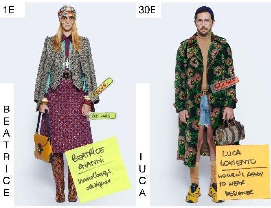 '구찌'의 에필로그 컬렉션. 구찌 디자이너팀이 모델로 등장해 옷을 입어보는 형식을 취했다. 사진 구찌