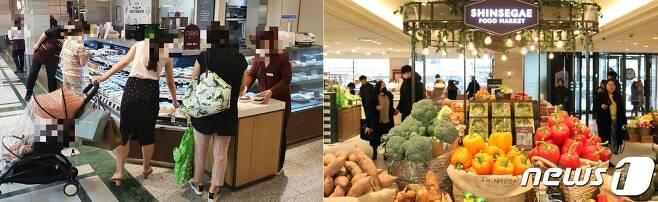신세계백화점 타임스퀘어점 1층 식품전문관 전경.(오른쪽·신세계백화점 제공) 22일 반찬 매장에서 소비자들이 반찬을 고르고 있다.(왼쪽). 2020.7.22/뉴스1© 뉴스1 최동현 기자