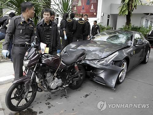 2012년 오라윳이 뺑소니 사고를 낸 페라리 차량(자료사진) [EPA=연합뉴스]
