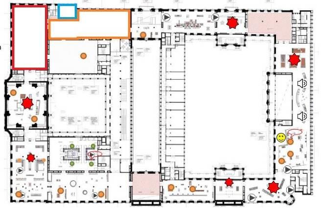 훔볼트포럼 홈페이지에 공개된 도면을 바탕으로 만든 한국관(왼쪽 상단 파란색 선 안)과 일본관(빨간색), 중국관(주황색) 공간 [베를린=연합뉴스]