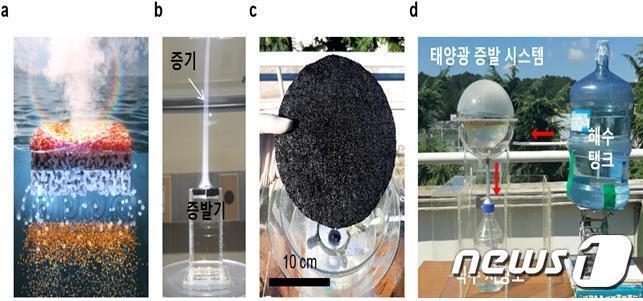 태양광 기반의 광열증발기를 이용한 해수담수화 시스템. (왼쪽부터) 1.광열 증발기는 태양광을 조사하면 광열반응을 통해 해수를 빠르게 증발시켜 식수를 생산해낸다. 2.개발된 증발기는 태양광 조사 시 99%의 매우 높은 증발효율로 많은 양의 증기를 생산한다. 3~4.태양광 기반 해수담수화 시스템을 제작하여 건물 옥상에 설치한 결과, 3개월간 증발기 면적 1㎡ 당 25~30 리터의 식수를 안정적으로 생산했다. (사진제공: 포항공대 기계공학과 이상준  교수)© 뉴스1
