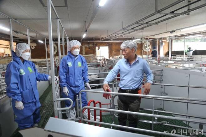 더불어행복한농장 김문조 대표와 농림축산검역본부 동물보호과 관계자들이 지난 27일 농장 내 새로 설치되는 동물복지형 분만틀에 대해 의견을 나누고 있다./ 사진=정혁수
