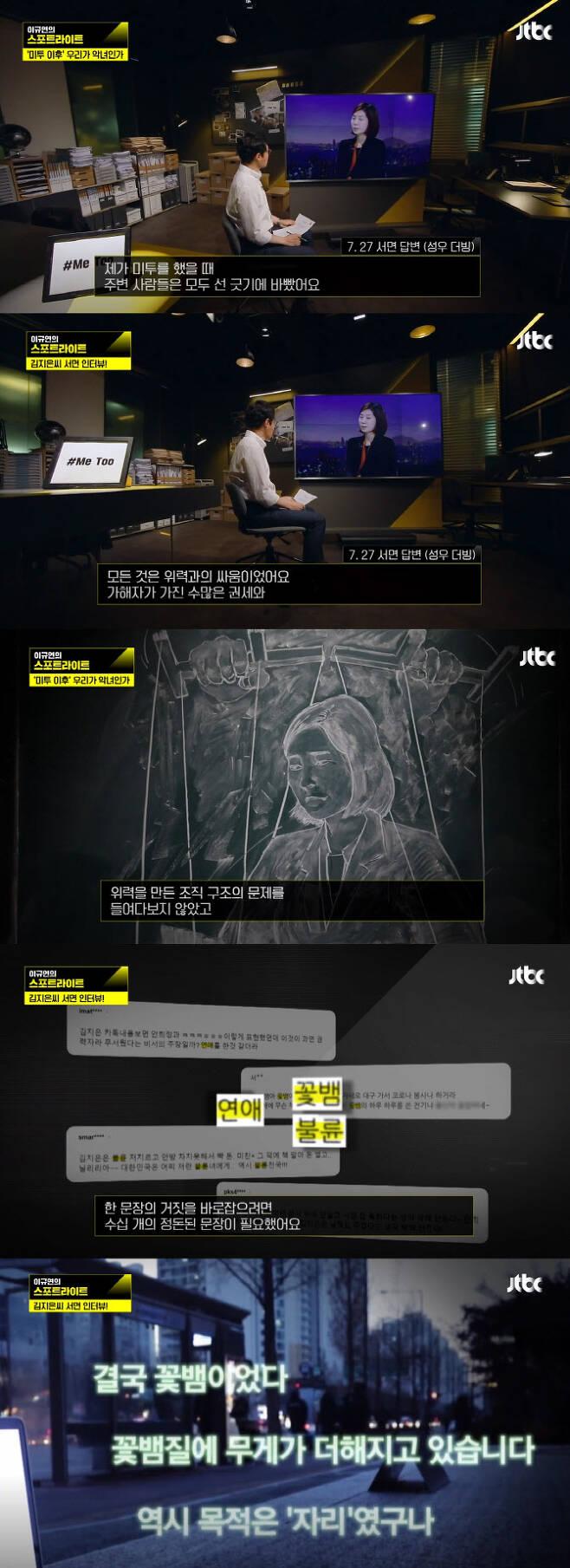 지난 30일 방송된 '이규연의 스포트라이트'에서 안희정 전 충남도지사의 성폭행 사건 피해자인 전 수행비서 김지은 씨의 서면 인터뷰 내용을 공개했다. (사진=JTBC '이규연의 스포트라이트' 방송화면)