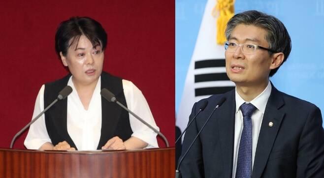 윤희숙 미래통합당 의원(왼쪽)과 조정훈 시대전환 의원. /사진=뉴시스.
