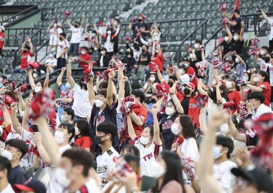 지난달 28일 부산 사직구장에서 열린 프로야구 NC 다이노스와 롯데 자이언츠 경기에서 1루측에 밀집한 관중들이 응원하고 있다. 연합뉴스 제공