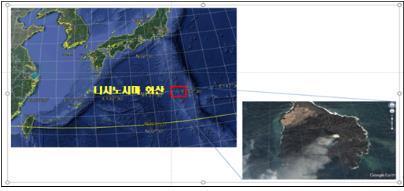 일본 니시노시마 화산 분화 위치 [기상청 제공. 재판매 및 DB 금지]