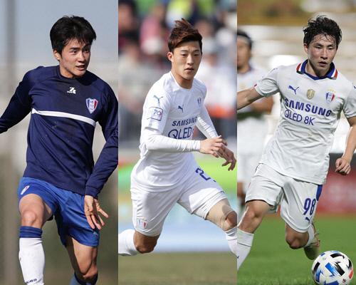 수원 이상민(왼쪽부터), 한석희, 박상혁. 제공 | 한국프로축구연맹