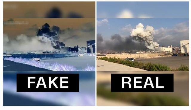 [서울=뉴시스]미국 언론사 CNN은 6일(현지시간) CNN 아랍의 소셜미디어 제작자가 촬영한 레바논 베이루트 폭발 영상에 미사일을 합성한 영상이 유포되고 있다고 보도했다. 왼쪽은 조작된 영상이고, 오른쪽은 원본이다. 2020.08.07